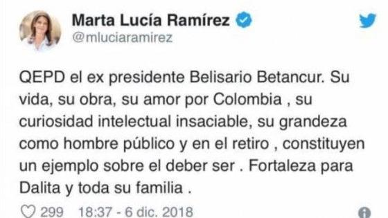 """Colombia, gaffe vice presidente: twitta morte Betancur. Poi le scuse: """"Contenta sia ancora vivo"""""""