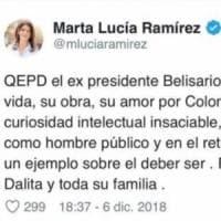 """Colombia, gaffe vice presidente: twitta morte Betancur. Poi le scuse: """"Contenta sia ancora..."""