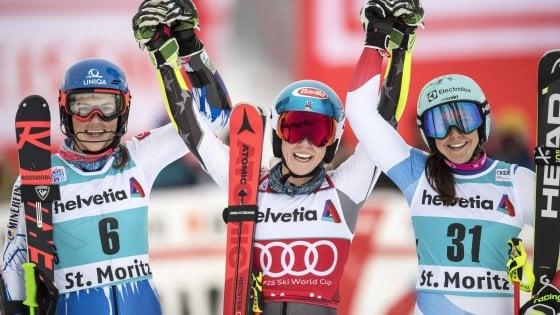 Sci, Cdm: Shiffrin fa l'en-plein a St. Moritz. Troppo vento: niente slalom in Val d'Isere