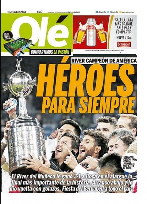 Copa Libertadores, il trionfo del River Plate fa il giro del mondo