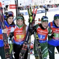 Biathlon, Cdm donne: l'Italia vince la staffetta trascinata da una super Wierer