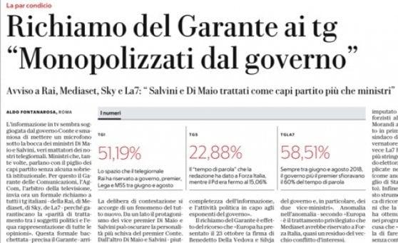 """Morcellini (AgCom) ai tg: """"Doping di notizie sui vice premier Di Maio e Salvini"""""""