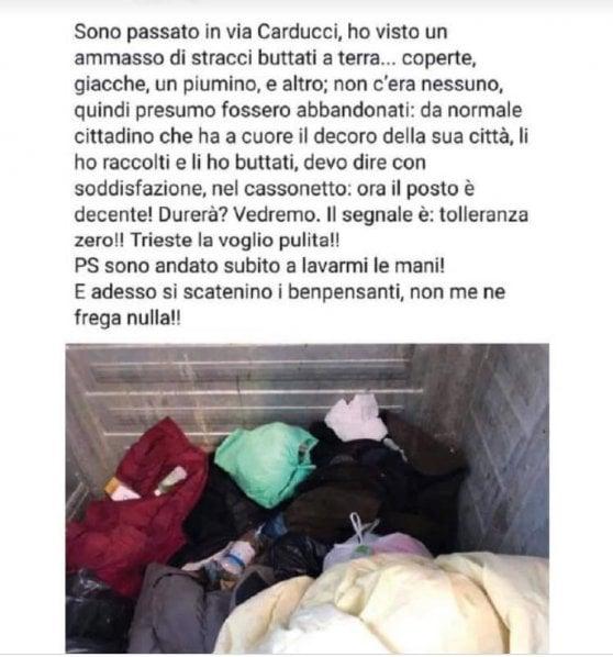 Trieste, bufera sul vicesindaco che getta le coperte di un clochard e si vanta sui social