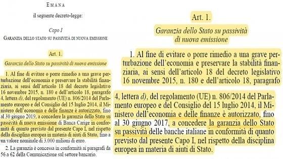 Il primo articolo del decreto Carige e (a destra) del salva-banche di Gentiloni
