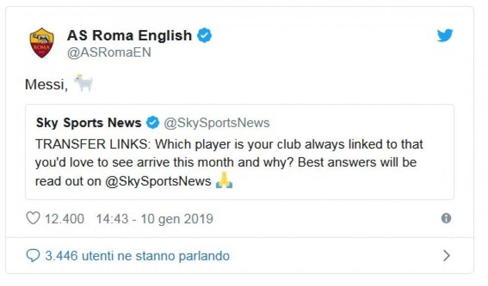 La Roma sogna Messi, il Barcellona risponde sui social