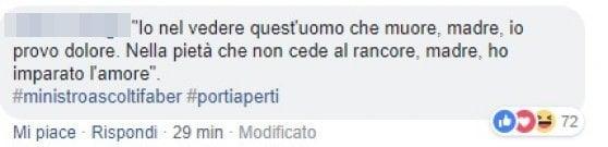 """Salvini ricorda De André con una frase di """"Il pescatore"""" e gli utenti si ribellano: """"Ha capito male il messaggio"""""""