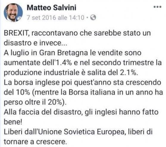 """La Brexit nell'era gialloverde. Salvini: """"Bruxelles non abbia testa dura, si rinegozi"""". Grillo: """"No nuovo referendum"""""""