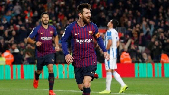Liga, Messi salva il Barcellona: il Leganes è battuto 3-1