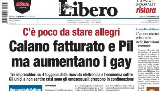 """Editoria, Crimi: """"Ignobile titolo omofobo di 'Libero', valutiamo lo stop ai fondi"""". La replica: """"Ci chiudano pure, il governo non può censurarci"""""""