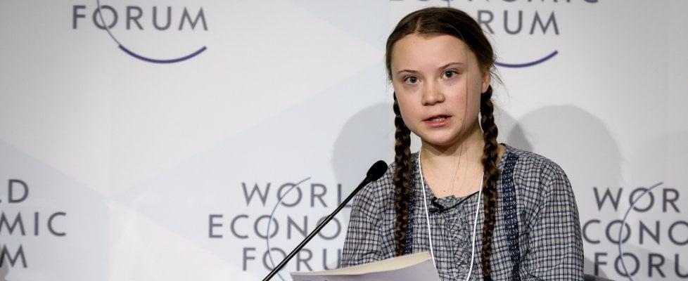 """A Davos l'appello di Greta, la 16enne ecologista: """"Sul clima dovete entrare nel panico"""""""