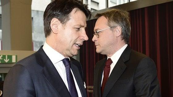 Milano, il premier Giuseppe Conte incontra il Presidente di Assolombarda Carlo Bonomi e gli imprenditori del Consiglio Generale di Assolombarda