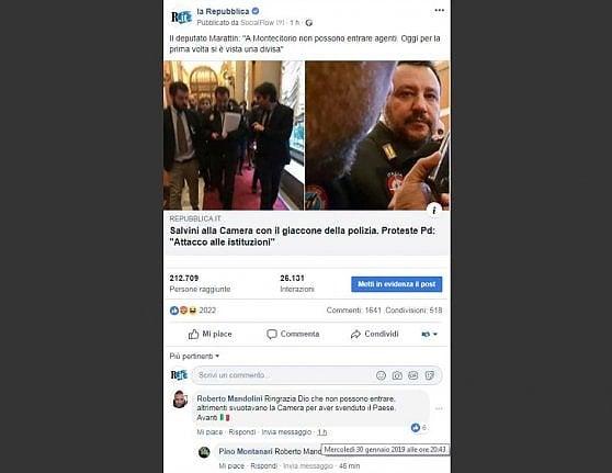 """Salvini con la divisa della polizia alla Camera. Indignazione Pd, il post di Mandolini """"Ringrazia Dio che non possono entrare"""""""