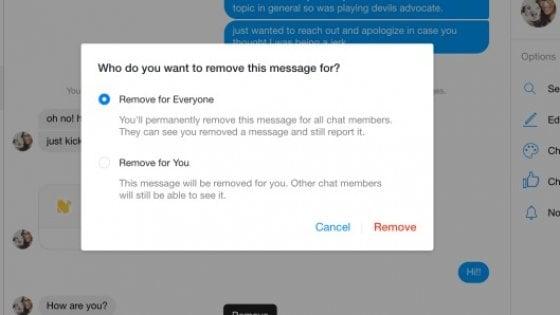 Facebook Messenger come Wapp: ora si possono eliminare i messaggi dopo l'invio