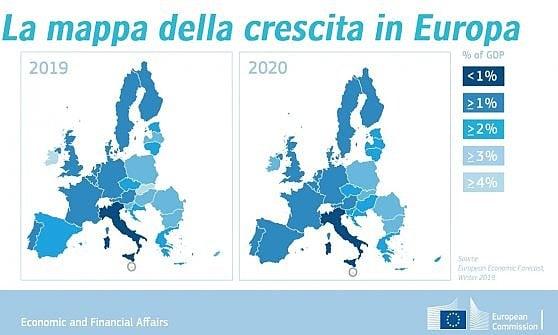 Ue, la Commissione gela l'Italia: Nel 2019 il Pil crescerà dello 0,2%. Tria: Non è recessione