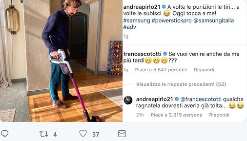 """Pirlo usa l'aspirapolvere e Totti scherza: """"Vieni a pulire anche da me?"""""""