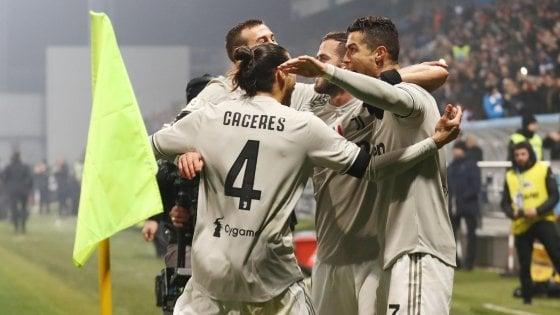 Sassuolo-Juventus 0-3: Khedira, Ronaldo e Emre Can firmano il +11 sul Napoli