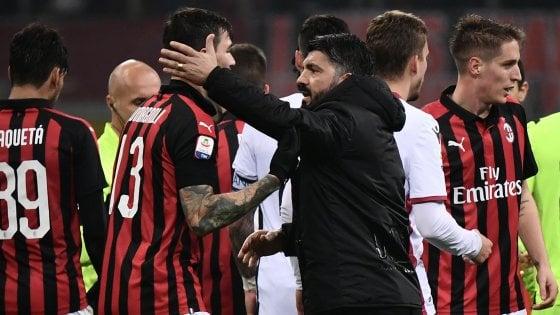 Milan, Gattuso applaude: ''Mettiamo noi davanti a io''