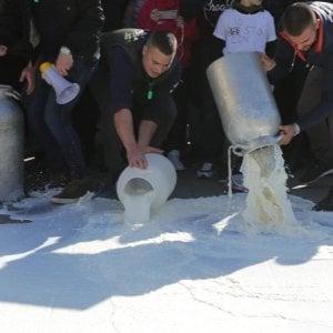 Sardegna, nuova protesta dei pastori. Ancora latte versato in strada.