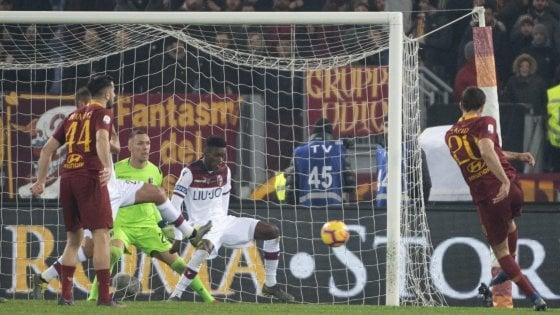 Roma-Bologna 2-1, Kolarov e Fazio tengono i giallorossi in scia al Milan