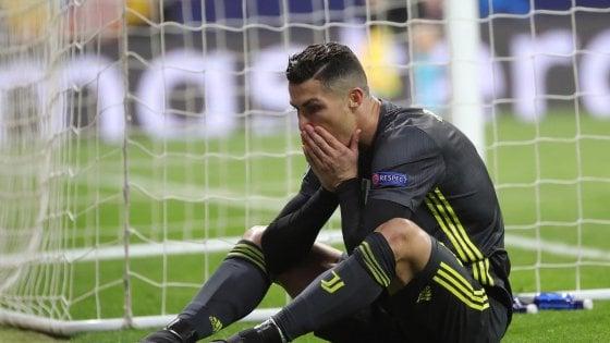 La disperazione di Cristiano Ronaldo al Wanda Metropolitano, casa dell'Atletico Madrid
