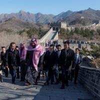 Mohammed bin Salman sulla Grande Muraglia prima dell'incontro con Xi Jinping