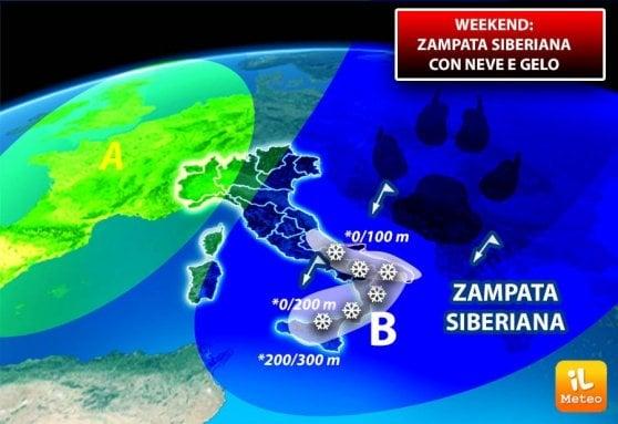 Meteo, nelle prossime ore ondata di gelo siberiano su tutta Italia. Neve e Maltempo al Sud