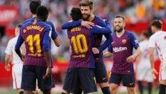 Extraterrestre Messi: 50esima tripletta in carriera, Barcellona rimonta il Siviglia