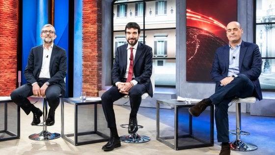 """Primarie Pd, confronto tv: """"Un milione l'affluenza"""" per Martina e Zingaretti. Giachetti su Renzi: """"Sono leale"""""""