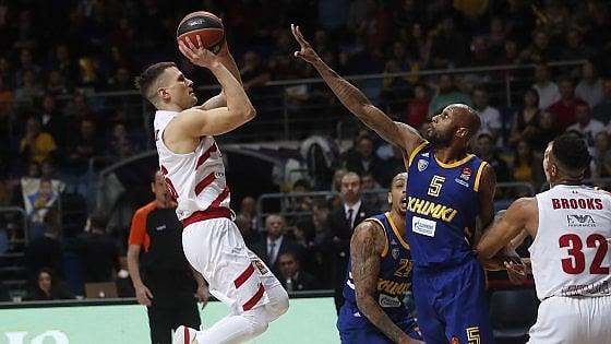 Basket, Eurolega: Milano vince in Russia. Khimki battuto, play off più vicini
