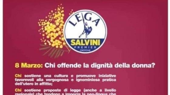 """8 marzo, il volantino sessista dei giovani della Lega di Crotone. Salvini: """"Non lo condivido, lavoro per la parità"""""""
