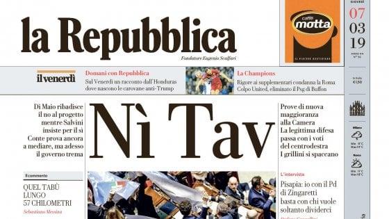 """""""Nì Tav"""", la prima pagina di Repubblica del 7 marzo 2019"""