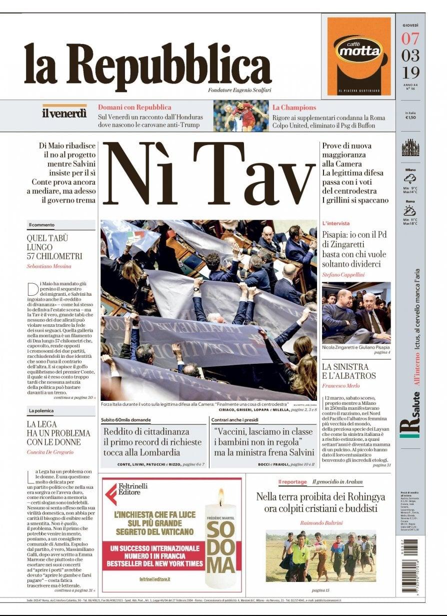 """La Repubblica It Nel 2019: """"Nì Tav"""", La Prima Pagina Di Repubblica Del 7 Marzo 2019"""