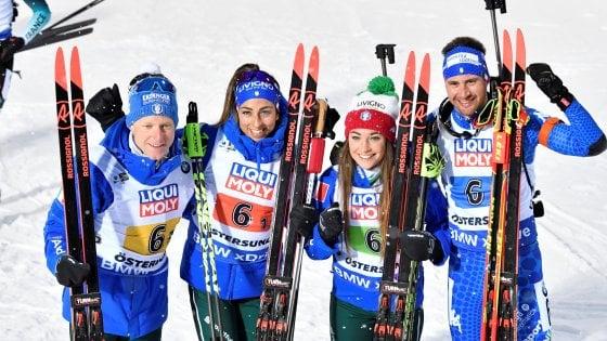 Biathlon, Mondiali: l'Italia parte bene, bronzo nella staffetta mista