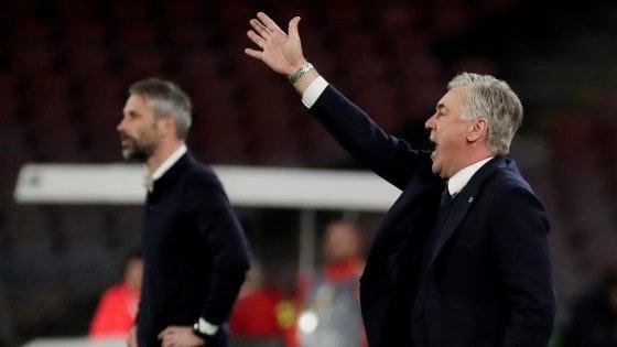 """Napoli, Ancelotti: """"Abbiamo rischiato troppo, quindi nel ritorno niente calcoli"""""""