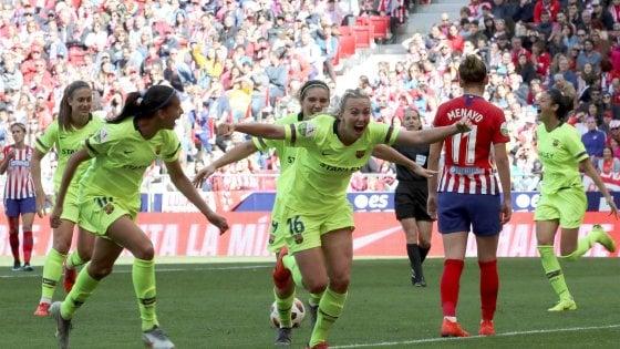 Calendario Partite Barcellona.Calcio Femminile In 61mila Per Atletico Madrid Barcellona