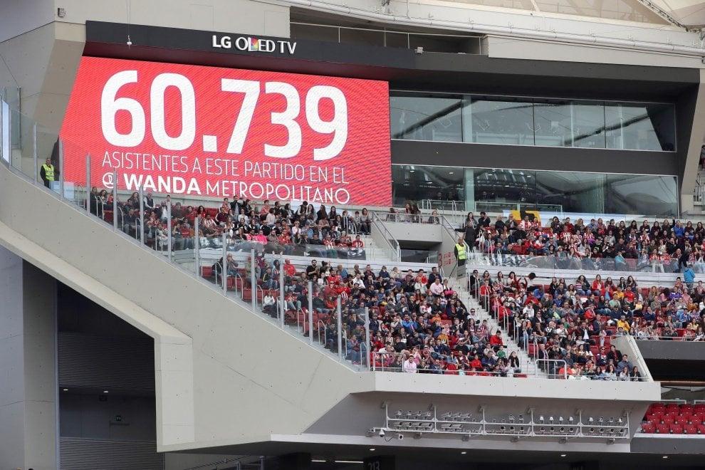 Calcio femminile: 61 mila spettatori per Atletico-Barcellona. Il Wanda gremito
