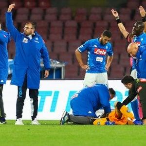 Napoli-Udinese, paura per Ospina: in ospedale dopo un colpo alla testa, è cosciente