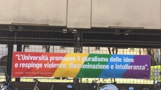 Lo striscione in Ateneo