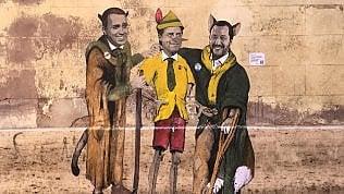 Di Maio e Salvini sono il gatto e la volpe, Conte è Pinocchio: Tv-Boy disegna il governo gialloverde