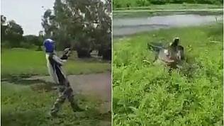 Il coccodrillo insegue la lenza eil pescatore a riva rischia grosso