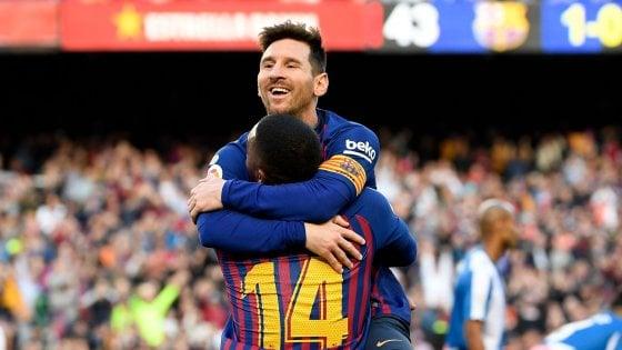 Liga: doppietta di Messi nel derby, il Barcellona resta a +10 sull'Atletico Madrid