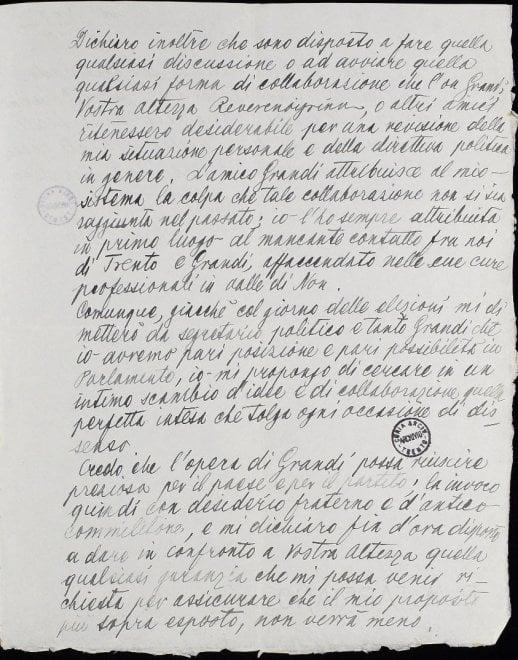 Archivio storico Quirinale, epistolario Alcide De Gasperi