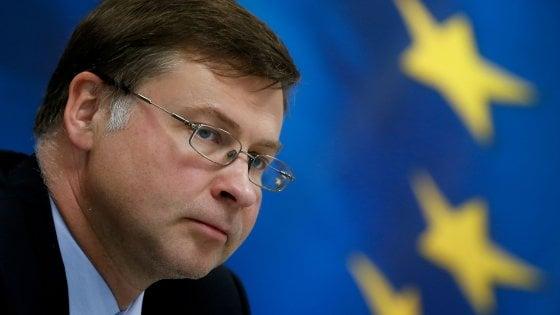 Crescita, il monito di Dombrovskis: Pil potrebbe scendere sotto 0,2%