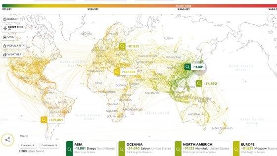 Escape, ecco la mappa che ti dice dove volare low cost da casa tua