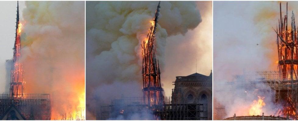 Incendio a Notre Dame a Parigi, le fiamme devastano la cattedrale: crollano la guglia e il tetto