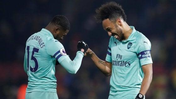 Premier League: Aubameyang lancia l'Arsenal al quarto posto, agganciato il Chelsea
