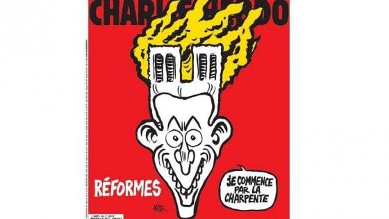 Notre-Dame: Charlie Hebdo, incendio su testa di Macron