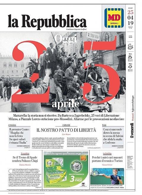 La Repubblica It Nel 2019: 25 Aprile: La Prima Pagina Di Repubblica