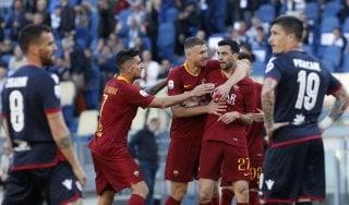 Roma-Cagliari 3-0: Fazio-Pastore-Kolarov, giallorossi al 4° posto