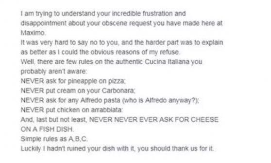 """""""Parmigiano sul pesce, please"""". E lo chef italiano a Londra risponde per le rime al cliente"""